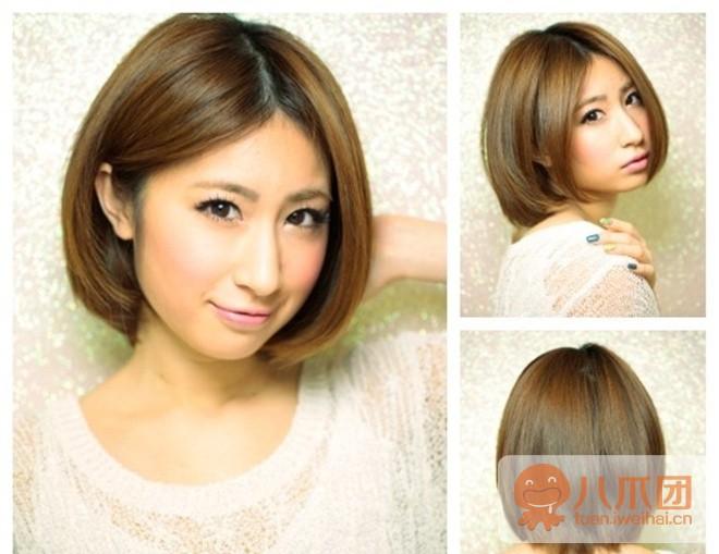 中分发型两边刘海轻松瘦脸,中短发微烫设计增添质感.
