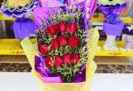 吉祥花艺红玫瑰花束,红玫瑰11支,精美包装,节假日通用